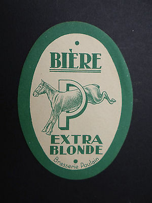 Ancienne étiquette BIERE BRASSERIE POULAIN horse cheval / french beer label