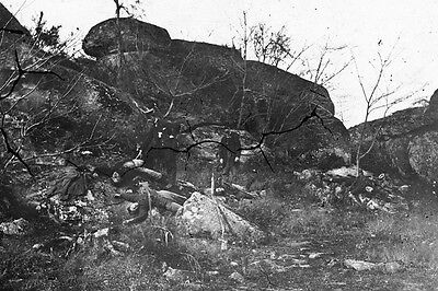 New 5x7 Civil War Photo: Dead Among Rocks Below Little Round Top, Gettysburg