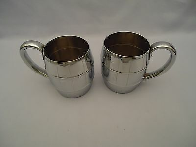2 West Bend Solid Copper Chrome Finish Barrel Mugs Moscow Mule Vtg Bar Cup Glass
