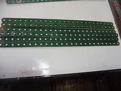 Meccano 6 Green 12.5 inch Perforated Strips No 1  Stamped Meccano