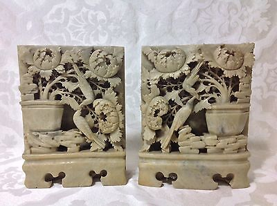 1930s Beautiful Lg Carved Soapstone Mirror Image Book Ends; Asian Motif, Great