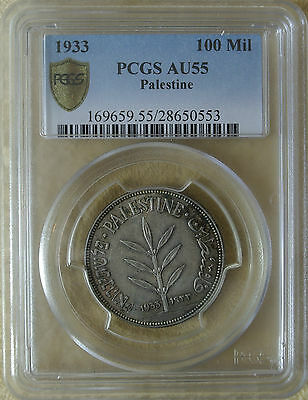 Palestine 100 Mils 1933 Silver Coin Pcgs Certified Au55