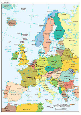 Map of Europe Wall Art Large Poster Print - A0 A1 A2 A3 A4 Maxi