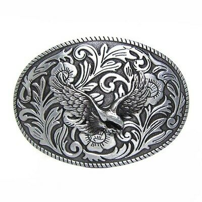 Rodeo Cowgirl Cowboy Floral Etched Soaring Eagle Belt Buckle Western Engraved