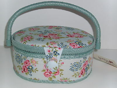 BNWT-Hobby Gift-Small Oval Sewing Box- Dainty Pink Rose Design on Blue