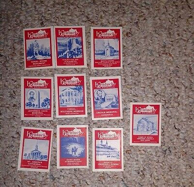 Vintage Poster Stamp Label set of 10 KENTUCKY THE BEAUTIFUL red tourism