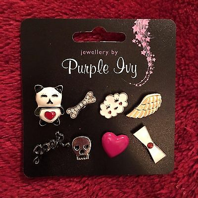 BNWT Fabulous Set of 8 Pin Badges for Hats, Bags, Jackets and more .. PURPLE IVY