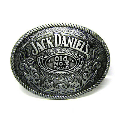 Classic Silver Jack Daniel's Whiskey Belt Buckle Brocade Rodeo Rope Edge Western