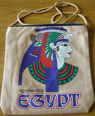 Egyptian Tote Shoulder Bag - CLEOPATRA- Beige with Zip Top. NEW Pharaonic