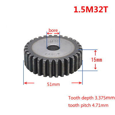 1.5Mod 32T 45# Steel Spur Gear Outer Diameter 51mm Thickness 15mm Qty 1