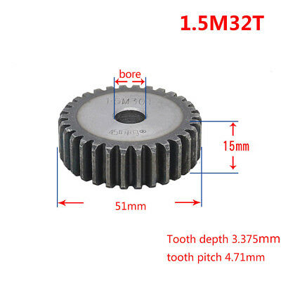 1.5Mod 32T 45# Steel Spur Pinion Gear Outer Dia 51mm Thickness 15mm Qty 1
