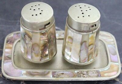 Vintage Sterling silver Mexico Mother of Pearl Salt & Pepper Shakers with Tray