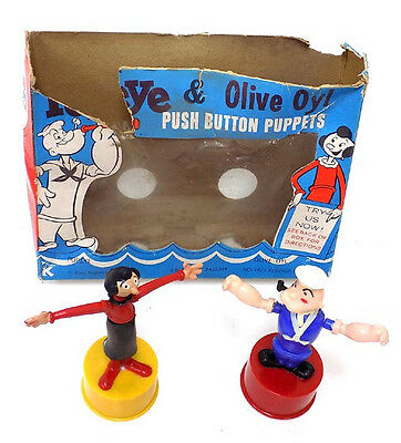 Vintage 1960's Popeye & Olive Oyl Kohner Push Puppets in as is Original Box