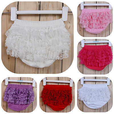 Girl Baby Kids Toddlers Cotton Lace Pants Bloomers Shorts Diaper Cover Trousers