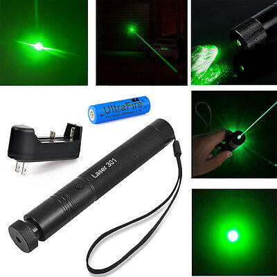 Military 532nm Green Laser Pointer Pen Visible Beam + 18650 Battery&Charger USA