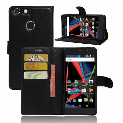 Magnetic Card Wallet PU Leather Case Stand Cover For Archos 55 Diamond Selfie