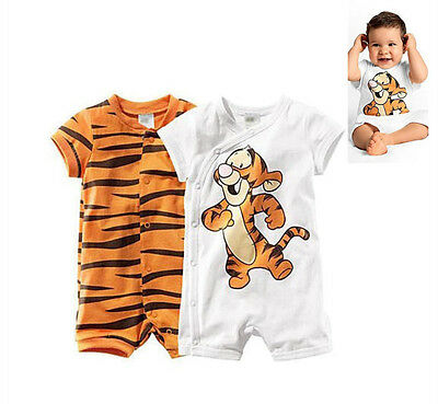 1pcs Baby Summer Clothes Short Sleeve  Boy Tops Outfit Kids Tigger Romper  0-18M