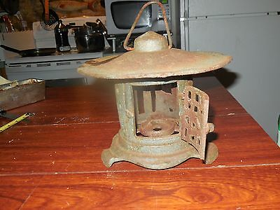 Vtg Antique Cast Iron Japanese Garden Pagoda Tea Light #3