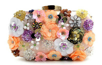 Vintage Flower Evening Clutch Bag Pink Wedding Handbag Crystal Purse Hard Wallet