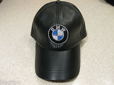 07d43aad55a BMW BLACK LEATHER Baseball Cap Hat Embroidered -  59.99