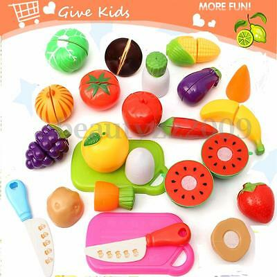 20Pcs Kids Pretend Role Play Kitchen Fruit Vegetables Food Toy Cutting Set Gifts