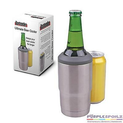 NEW STAINLESS STEEL ULTIMATE BEER COOLER 18/8 Holder Stubby Kelly Can Awesome