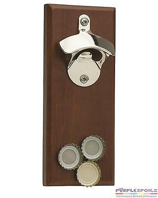 NEW MAGNETIC BOTTLE OPENER WITH MAGNETIC CATCHER Fridge Refrigerator Magnet Wood