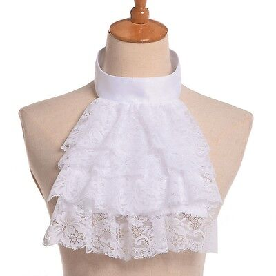 1PC Jabot Collar Victorian Steampunk Edward Detachable Lace White Ruffle Collar
