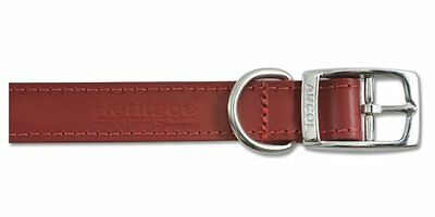 "Heritage Leather Sewn/Half Lined Collar Red 60Cm/24"" Sz 7 Pet Heavy-Duty Strong"