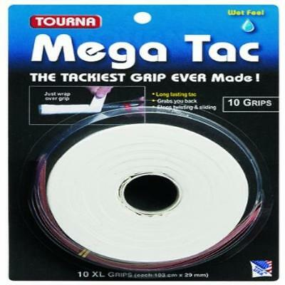 Tourna Mega Tac Tennis Racket Grip White 10-Pack Made In Usa Perfect New
