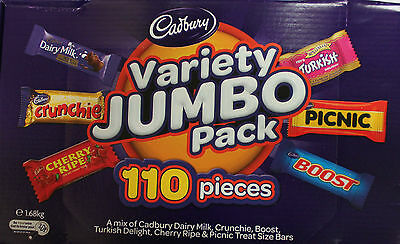 Cadbury x 110 Piece Variety Box Chocolate Jumbo Pack Mix 1.68kg Party Favor • AUD 42.49