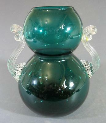 Retro/vintage 60s-70s turquoise/clear art glass vase A/F