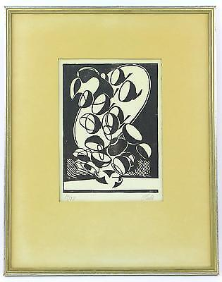 A 1950's limited edition Axel Salto print. Danish. Black & white Pottery. Framed