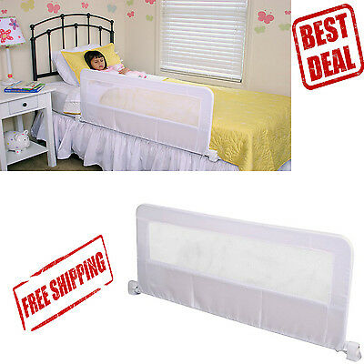 Safety Bed Rail Toddler Baby Protection Swing Down Guard Crib Child Secure White