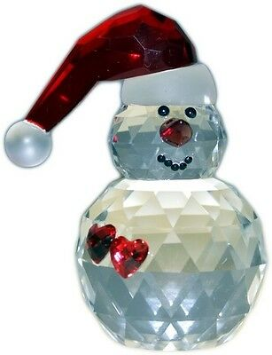 Stunning Crystal Snowman with Hearts Ornament Lined Gift Boxed BNIB