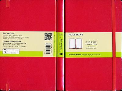 Moleskine Plain Notebook Red NEW hardcover 240 pages acid-free 13 x 21 cm