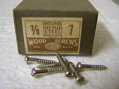 """#7 x 7/8"""" Round Head Nickel Plated Steel Wood Screws Slotted Made in USA-Qty.130"""