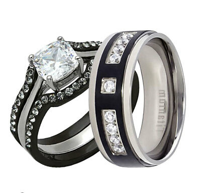 His Hers 4 Pc Black Stainless Steel Titanium Wedding Engagement Ring Band Set MB