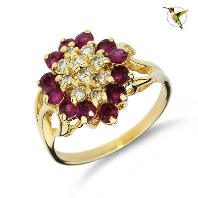 Vintage Ruby and Diamond Cocktail Ring Set in 14k Solid Yellow Gold #2660
