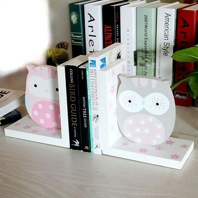 Pair of Kids Owl Bookends Wooden Book Ends Children Nursery Decoration Gift UK