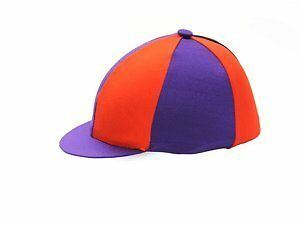 Hy Two Tone Lycra Silks - Purple/Red - Horse Equestrian Riding Hat Covers