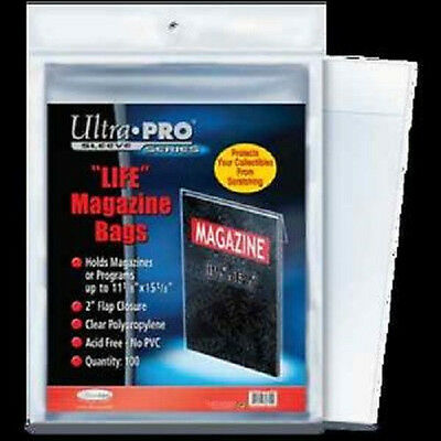 200 Ultra Pro Life Magazine Size Storage Bags and Boards New