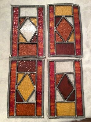 Vintage 1900s Original Stained GLASS Lead Panels 4 pc Lot VGC (No Frame)