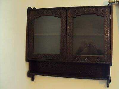 W .middleton Abbott Ripon Antique Carved Wood Wall Cabinet
