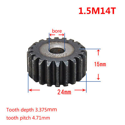 1.5Mod 14T 45# Steel Motor Spur Gear Outer Diameter 24mm Thickness 15mm Qty 1