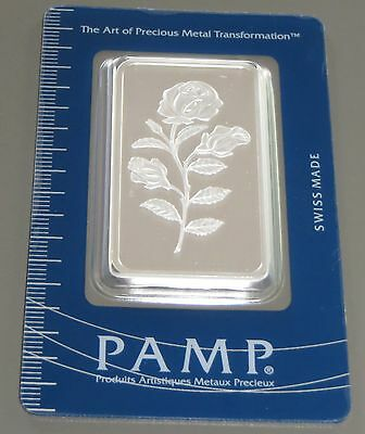 Pamp Suisse 1 Oz ( Ounce) .999 Fine Silver Rosa Certified Numbered Bullion Bar