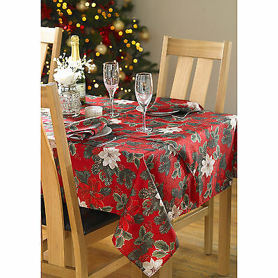 Christmas Floral Festive Tablecloth - Green Red Linen Fabric Dining Table Cloth