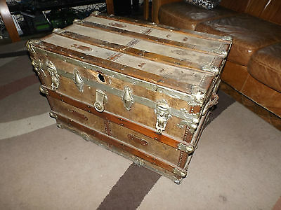 "Antique Steamer Trunk wood metal GERMAN Iron Cross Vintage 20"" x 32"" x 22""."