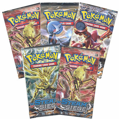 Pokemon Cards - XY Steam Siege - Booster Packs (5 Pack Lot) - New Factory Sealed