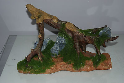 Aquarium Large Tree Root & Moss Decoration 31 x 15 x 22 cms Log Stump Driftwood